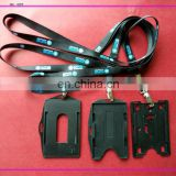 customized black color silk screen lanyard with adjust buckle and black id card holder