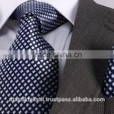 Dark Blue White Checked Necktie set with pocket square, neck tie, corbata, gravate, krawatte, cravatta, fashion tie