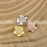 CZ6638 mirco cz pave bracelet flower charm connector,charms for bracelet making                                                                         Quality Choice