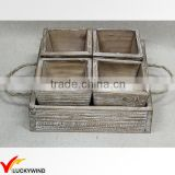 Primitive Square Decorative Planter Box Tray with Linen Handle                                                                         Quality Choice