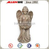 "27.6""Polyresin angel bird feeder,Kneeling Garden angel statue bird bath for outdoor decor"