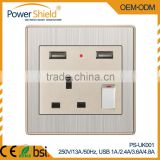 European UK wall switch socket Brushed sivler & metal chrome with double USB 4.8amp output for hotel/home/office 230V 13A