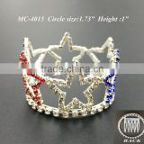 NEW mini round red/white/blue star crystal rhinestone comb crown tiara for kid birthday party Bridal Wedding party(MC-4015)