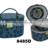 Blue round leather mirrored jewelry Box with tray from CN