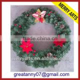 Yiwu wholesale christmas market best selling plastic christmas wreaths products green bulk christmas wreaths cheap