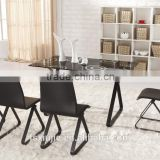 L858 Chic Modern Black Extendable Dining Table Set in X Shaped Base with Black Glass Top