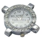 Iron Watch Components, with Rhinestone, Round, about 30x30x8mm(IFIN-H022-1)