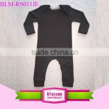 2016 Wholesale plain black lap shoulder infant bodysuit cotton long sleeve binding girl onesie romper baby clothes clothing yiwu