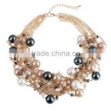 Europe New ladies' fashion exaggerated beaded necklace to restore ancient ways costly pearl clavicle short chain