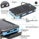 China Factory With SOS Light & Compass 10000mah Portable Solar Power Bank External Battery Charger for Mobile Phone