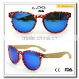 Women Bamboo Sun Glasses Blue Color Lenses Bamboo Arms Plastic Frame Sunglasses