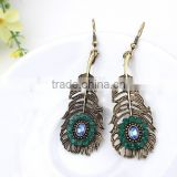 Cute animal fashion jewelry earrings rhinestone peacock feather shaped pendant earrings
