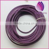 purple color real leather cord 3.0mm braided cord for bracelet