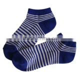 GSS-117 Haining GS custom half terry white and blue novelty striped elastic cotton ladies women ankle spor socks