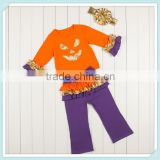 Wholesale pumpkin halloween girls fall boutique outfit orange top hairbow ruffle pant set boutique outfits girls outfit ruffle