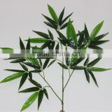wholesales plastic artificial garden green bamboo plants lumber craft with leaves for decoration