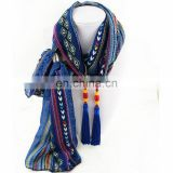 Wholesale Tassel Bead Decoration Women Chiffon Scarf Necklace Jewelry