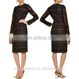 china wholesale women's clothing latest party dress designs black long sleeve one-piece dress cotton lace midi dress