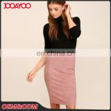 Custom Service Latest Skirt Design Faux Suede Slim Fit Midi Pencil Skirt