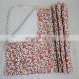 "Hand Block Print Kantha baby Quilt Cotton Fabric Kids Baby Sheet 44"" throw"