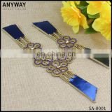 Decorative rhinestone leather design for lady's sandal shoes strap accessories