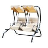 Double Swing Chairs with Frame / Canopy / Cupholder, Tan