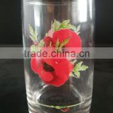10oz Flower Color Series Heat Transfer Printed Glass Cup With No Handle