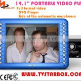 cheap factory wholesale 14.1''portable video player with loud speaker and hd screen