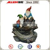 "33.5"" gnomes holding pottery jug sitting on trunk large water feature fountain, garden fiber resin water feature                                                                         Quality Choice"