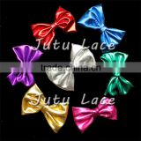 Adult elegant cheerleading shiny hair bowknots without clips, 3'' clothes bowknots, metallic gloden fabric kids hair bows