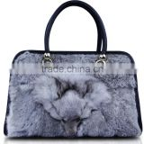 HOT Selling PU Leather Lady Shopping Nylon Bag Fur Fashion Handbag 2013 Factory Directly