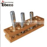 Tobeco e cigarette accessories display for 26650/18650 mods/RDA and ego batteries e cigarette wooden stand