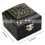 Store Indya Classic Small Black Wooden Ring Gift Box Trinket Jewelry Holder Organizer with Antique Metal Work