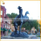 Bronze Figurines Sculpture Riding Horse Cowboy Bronze Statue