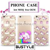 3D Cute Unicorn OEM logo Silicone Mobile Phone Case for iPhone 6s plus iPhone 7, Soft TPU Shell Case for Samsung Galaxy s6 s7 j7