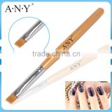 ANY Nail Art Beauty Care Golden Wood Handle Flat UV Gel Finger Brush Nail Art