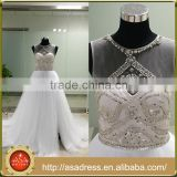ASAJ-09 Custom made Real Pictures Ball Gown Sequins Beaded Sheer Scoop Neck High Split Wedding Dresses