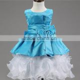 Factory Wholesale baby girls party blue and white Princess baby girls puffy dresses Baby Girls Free Prom girls Party dresses