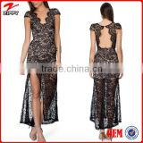 2016 Women lace design all night dance dress/Side split latest night dress/Ladies western style prom dress