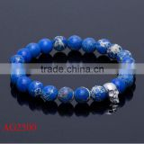 beauty fashion silver alloy jewelry dark blue beads bracelet and cheap skull imperial jasper bracelet & bangle