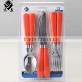 6PCS Color PP Machine Polish Stainless steel Plastic Handle Fork and Spoon Set With Blister Packing