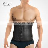 S-SHAPER 2031 Men`s Latex Waist Trainers Fajas Rubber Waist Cincher 3 Hooks Steel Boned Workband