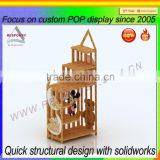 custom bamboo wood display stand for fabric toys