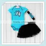 New Arrival Baby 3pcs Clothing Sets Cotton Short Sleeve Romper+Tutu Skirt+Headband 0-2yrs Infant &Toddlers