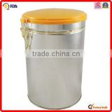 silver printing metal customed coffee tin can with throat cap