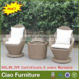 Garden furniture bistro coffee set rattan table and chair for sale