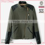 Fashion polyester and wool pu combination quilting high quality garment mamufacturer ladies coats jackets