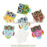 "Wood Painting Sewing Buttons Scrapbooking Owl Halloween 2 Holes Mixed 3cm x 2.5cm(1 1/8"" x1""),100PCs,Bulk"