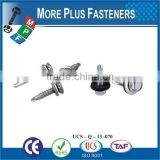 "Taiwan #12-14 x 1-1/2"" Hex Unslotted Hex Washer Head Epoxy #3 410 Stainless Steel Bonded Sealing Washer Self-Drilling Screw"