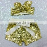 Girls Gold sequin shorts with matching bow baby shorts toddler birthday outfit kids fashion birthday sparkle matching headband